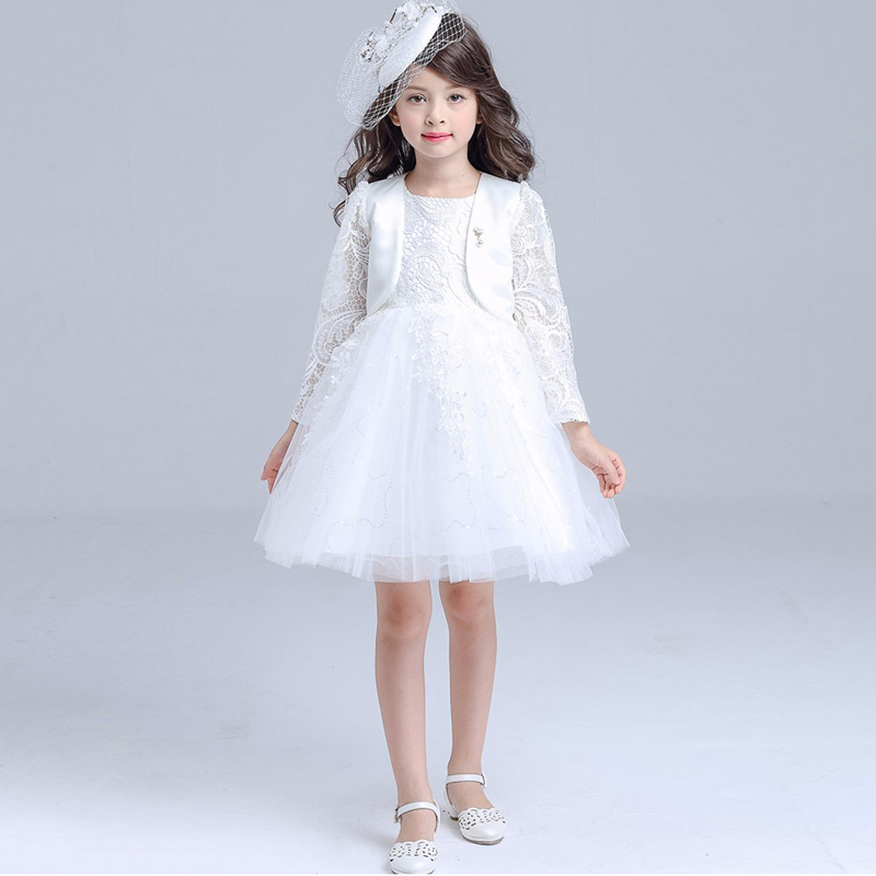 Fashion Winter Brand Flower Girl Princess Birthday Size3-10 Kids Lace Ball Gown Pageant Dress with Shawl for Wedding Party ball gown sky blue open back with long train ruffles tiered crystals flower girl dress party birthday evening party pageant gown