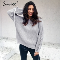 Simplee Casual O Neck Knitted Sweater Women Jumper Lace Up Sleeve Knitting Pull Femme 2017 Autumn