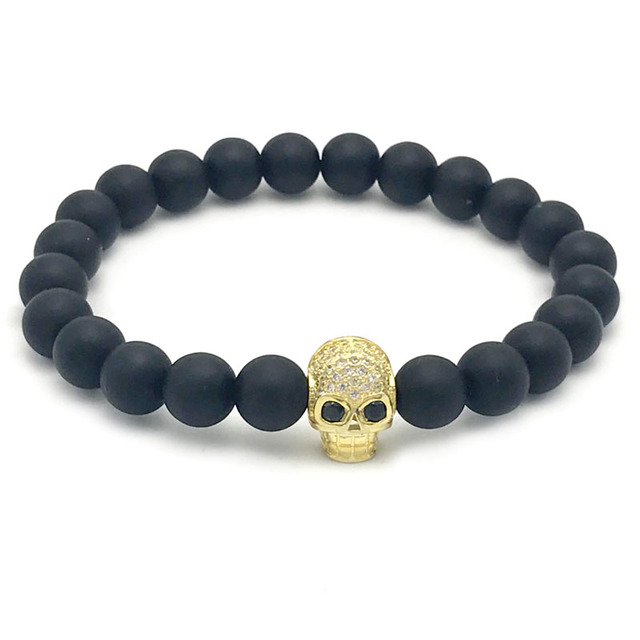 Unisex Fashion Skull Mens Jewelry Retail 1pcs 8mm Matte onyx stone
