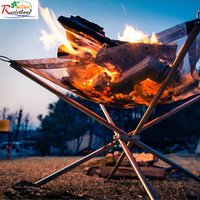 Outdoor Fire Burn Pit Stand Portable Solid Fuel Rack Folding Stove Frame Fast Heating Wood