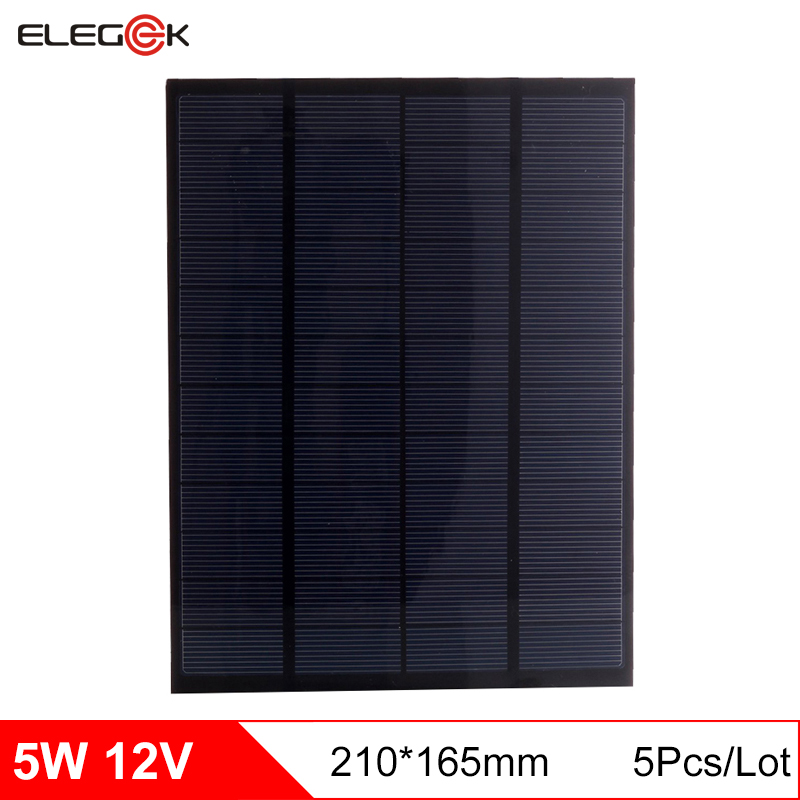 ELEGEEK 5pcs 5W 12V Polycrystalline Silicon DIY Solar Panel 12V Mini Solar Cell for DIY Test and Education Use