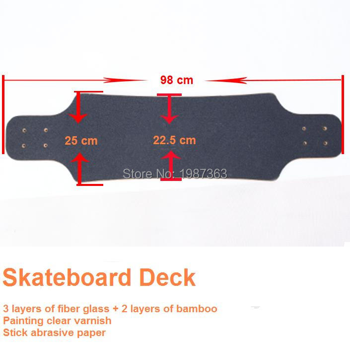 38 Inch Skateboard Longbaord Deck 3 Layer Fiber Glass +2 Layer Bamboo +stick Abrasive Paper
