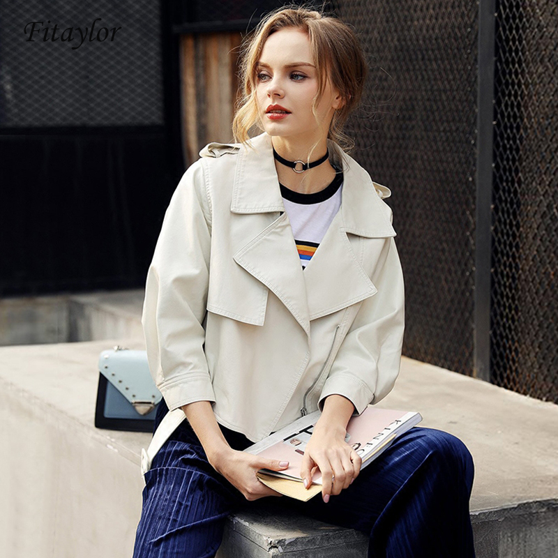 Fitaylor 2019 Autumn Women Pu   Leather   Jacket Coat Female Slim With Belt Short Faux   Leather   Jacket Women's Casual Outerwear