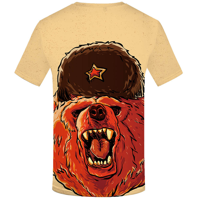Bear War Military Clothes Gun 3D T shirt 3