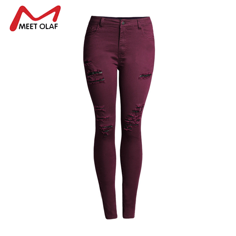 Burgundy Ripped Jeans For Women Skinny Elastic Full length Pencil Pants Holes Female Vintage Denim Trousers Leggings YL651 free shipping women s skinny pants jeans female jeans belt clothing pencil pants elastic women s trend