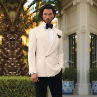 Ivory Tuxedos For Men Shawl Lapel Mens Wedding Suits Formal Mens Suits Double Breasted Grooms Suits(jacket+pants+Bow tie)