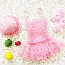 children's swimwear Girls swimsuit skirt Swimming children bathing suit 1-6Y Elastic Braces Hem Lace Swim Wear Swimwear