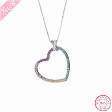 New Arrival Sparkling Rainbow CZ Multi colored Statement Heart Pendant 60cm Long Necklaces for Women Silver 925 Jewelry FLN057