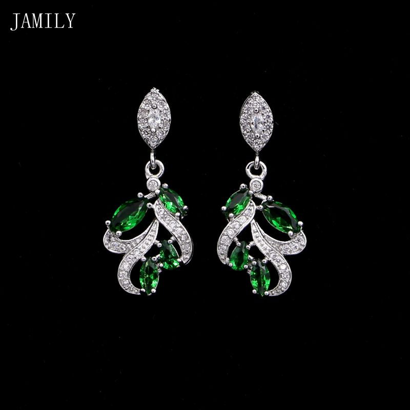 Fashion Romantic 925 Sterling Silver Wedding Earrings Natural Green Cubic Zirconia Accessories For Bridal