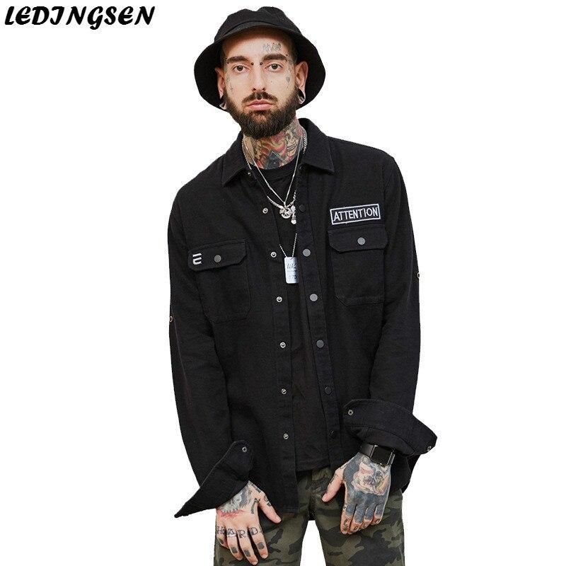 LEDINGSEN Mens Denim Jeans Jackets Homme Masculine Black Slim Fit Ripped Fashion Jeans Casual Hip Hop Streetwear Coats Masculino