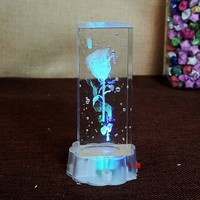 3D Carving Horse Rose Crystal Craft Within LED Home Decoration Figurine Ornaments Valentine S Day Gifts