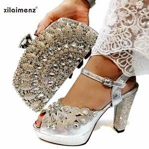 Image 2 - Wysokiej jakości czarny kolor afrykański projektant zestaw butów z torebką, aby dopasować włoskie buty imprezowe z pasujący zestaw torebek