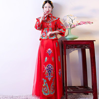 2018 Embroidery Cheongsam Long Qipao Chinese Traditional Wedding Dress Oriental Style Dresses Summer Women Sexy Flowers