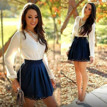 Fashion Women long sleeve Spring Autumn V Neck Bodycon Evening Party Short Mini Dress vestidos