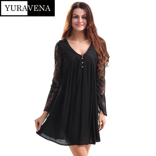 831da91da4e0 women summer lace dress chiffon loose slip dresses long sleeve casual holiday  dress