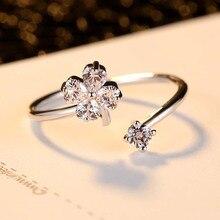 Silikolove 1pcs Fashion Lucky Flower-shaped Zircon Opening Ring  Plum Heart Wedding Rings for Women