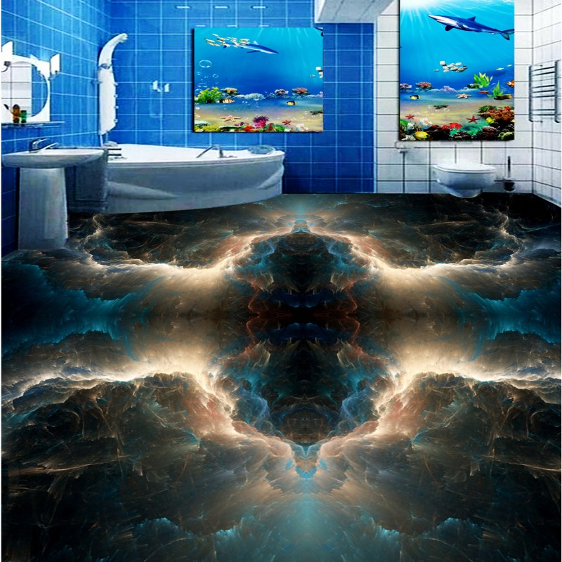 Free shipping 3d floor home decoration Fantasy Nebula Toilet Bedroom Floor self-adhesive waterproof mural baby room wallpaper toilet time floor golf game set