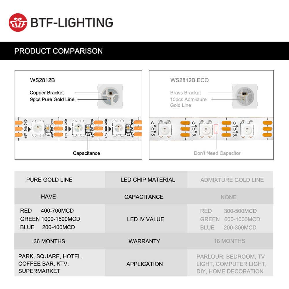 1 м/2 м/4 м/5 м WS2812B Светодиодная лента 30/60/74/96/100/144 пикселей/светодиоды/М WS2812 умная RGB Светодиодная лента черный/белый PCB IP30/65/67 DC5V