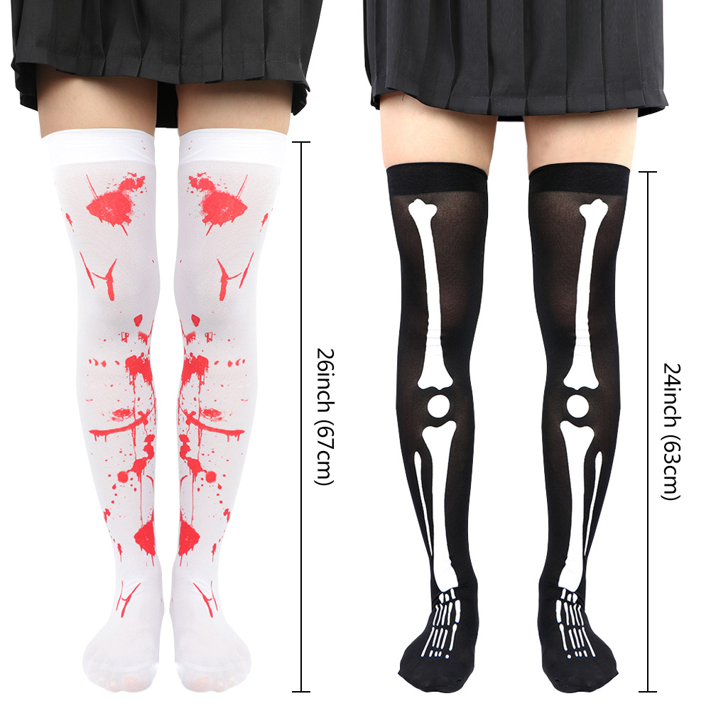 U-House Halloween Women Thigh High Stockings Over Knee Spider Skeleton Socks Halloween Cosplay Costume Accessory