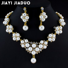 Crystal Flower Necklace and Earring Set simulated Pearl Pendant Jewelry Set for Women sieraden Sets Necklace Sets dropshipping(China)