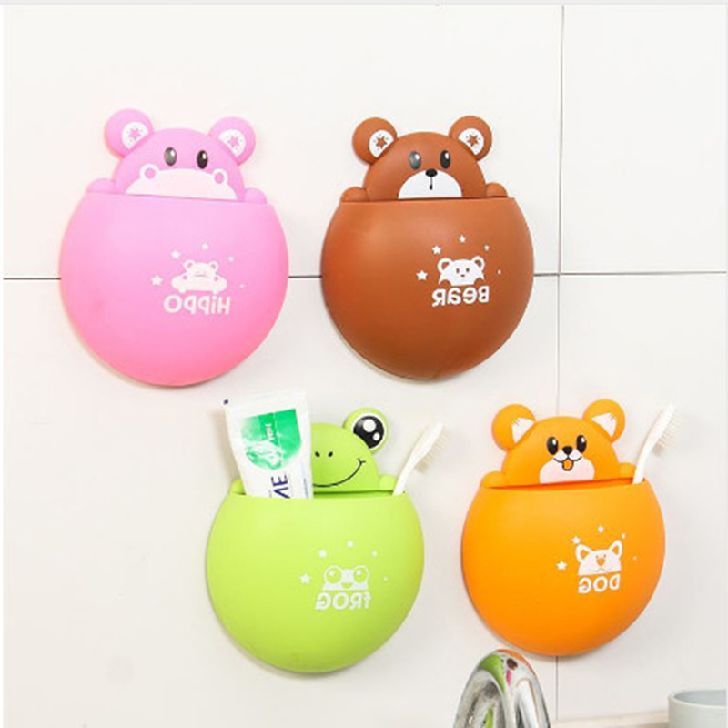 Cute Cartoon Animal Toothbrush Holder Sucker Toothbrush Toothpaste Rack Strong Decorative Box Bathroom Storage Accessories image