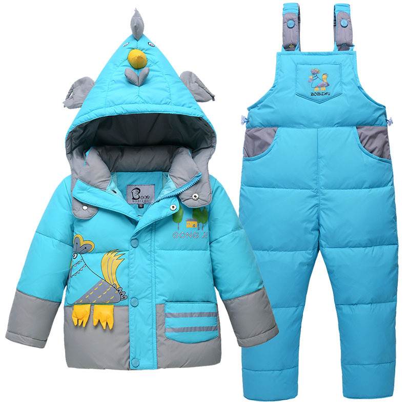 Children's Down jacket suits Child boys girls clothes baby Winter cartoon  coat thicker long section two sets kids clothing 2013 winter child down coat baby set boys