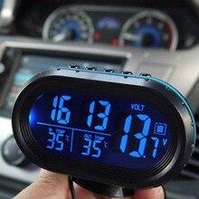4 в 1 цифровой автомобилей автомобиля часы Батарея вольтметр Напряжение метр тестер Мониторы + электронные часы световой оповещения