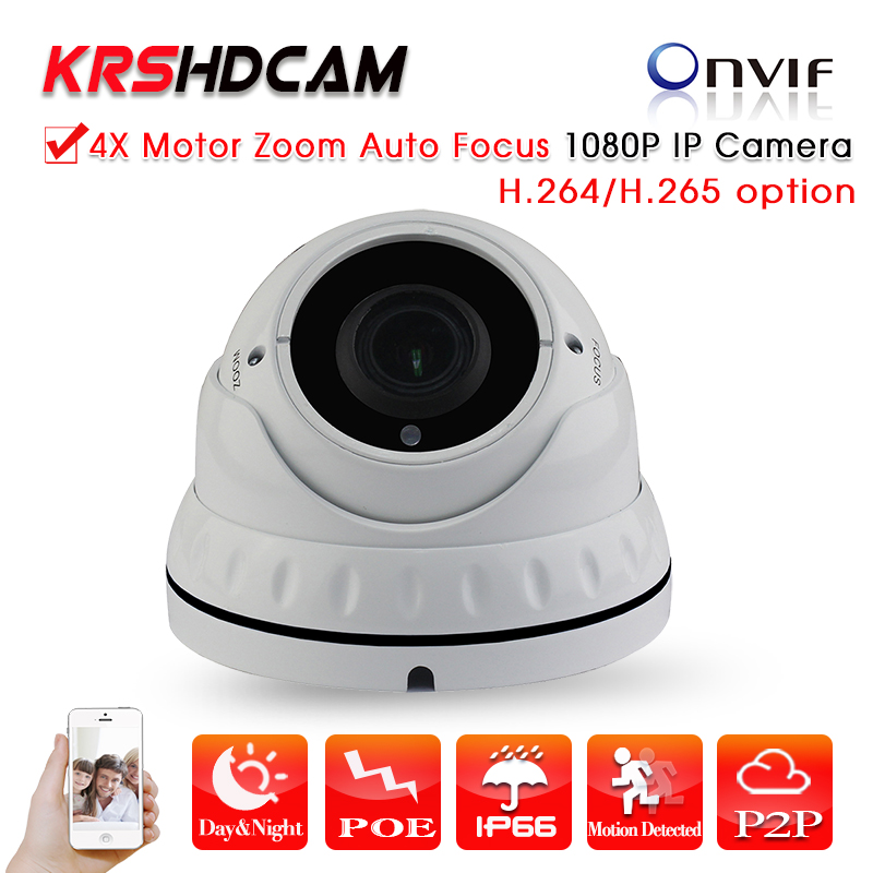 KRSHDCAM H.265/264 4X Zoom Auto Focus Iris Motorized Lens 2.8-12mm 2MP IP Camera Outdoor Security Dome Camera Network POE ds 2cd4026fwd a english version 2mp ultra low light smart cctv ip camera poe auto back focus without lens h 264