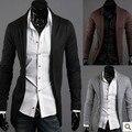 Новое прибытие 2015 мужская дизайнерская одежда slim fit с длинным рукавом рубашки мужчины кардиган повседневный вязаный свитер Бесплатная доставка