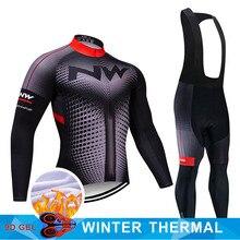2020 Pro Team NW Cycling Jersey 9D Bib Set MTB Uniform Bike Clothing Mens Winter Thermal Fleece Bicycle Clothes Cycling Wear