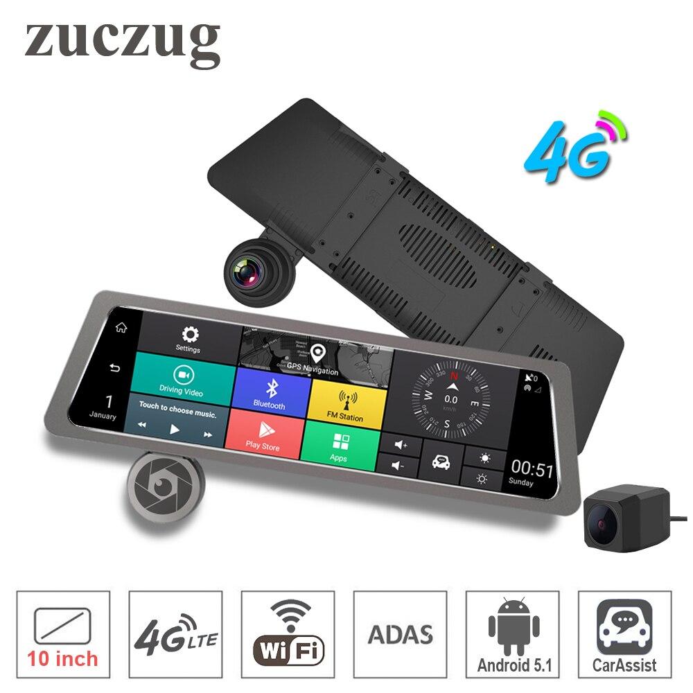 Zuczug 10 Сенсорный экран в комплекте Зеркало заднего вида Видеорегистраторы для автомобилей Камера 4 г Wi Fi ADAS Android GPS навигатор двойной Full HD спе