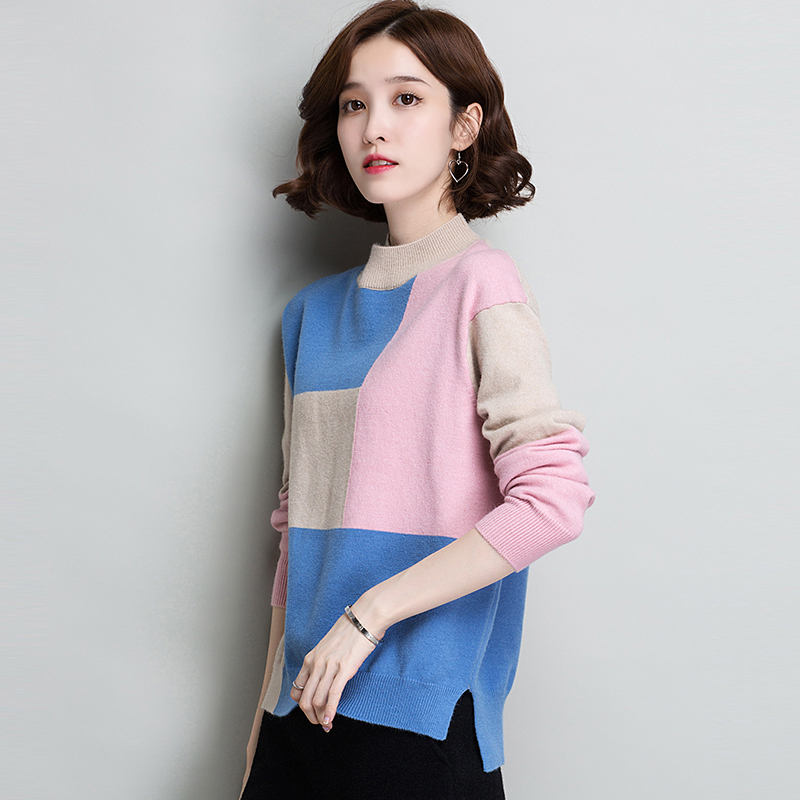 Colour-matched sweater women's 2018 new bottom-laying autumn-winter Pullover loose version short half-high-collar knitted trend