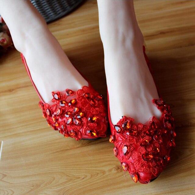 2017 женская мода красный цветок свадебные туфли кружева горный хрусталь люкс для невесты принцесса обувь ручной работы системы-8