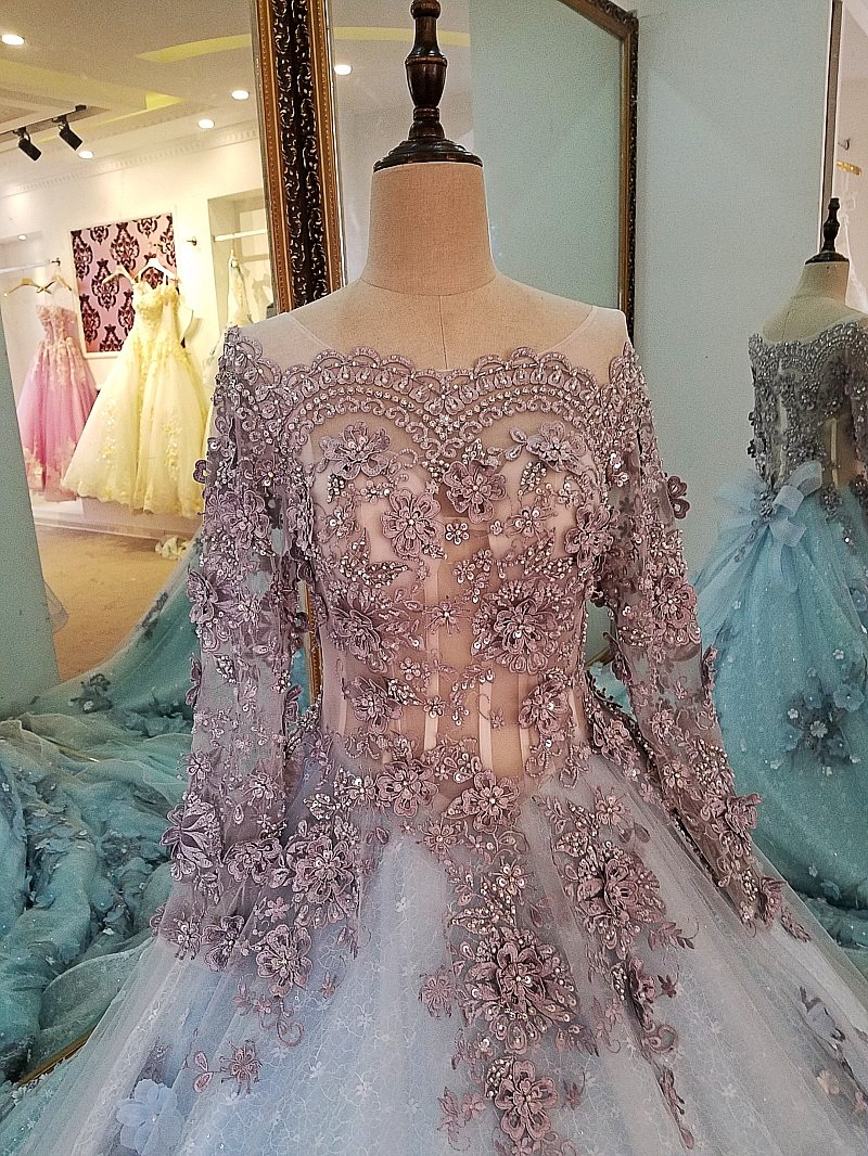 Image 4 - LS00034 evening dress lace beading ball gown long party formal dress organza robe de soiree abendkleider 2018 real photosrobe de soireerobe dereal photo -