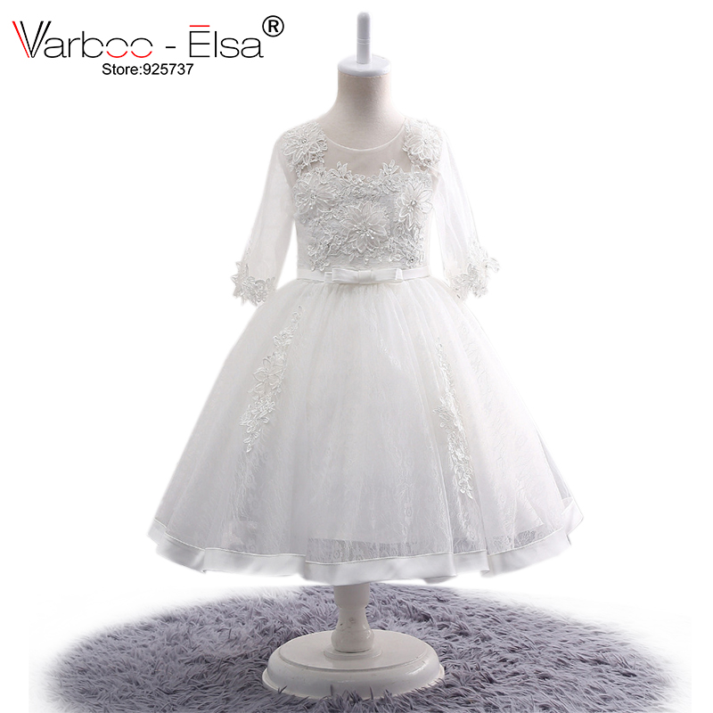 New Lace   Flower     Girl     Dresses   for Weddings 2018 ivory Kids Evening Ball Gown   Dress   Holy Communion   Dresses   For   Girls   Pageant Gowns