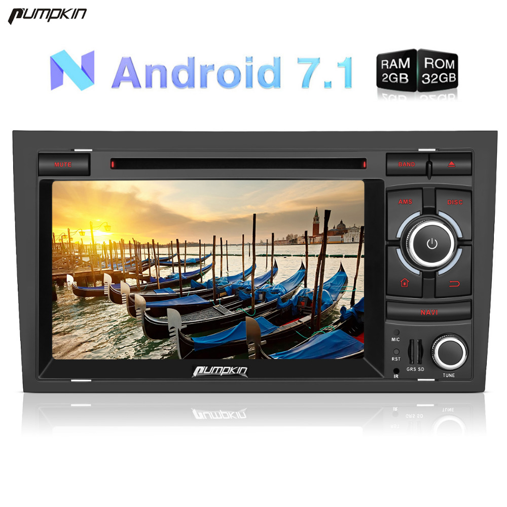 Pumpkin 2 Din 7'' Android 7.1 Car Radio DVD Player For Audio A4 GPS Navigation Bluetooth Car Stereo Wifi 3G Fast Boot Recorder