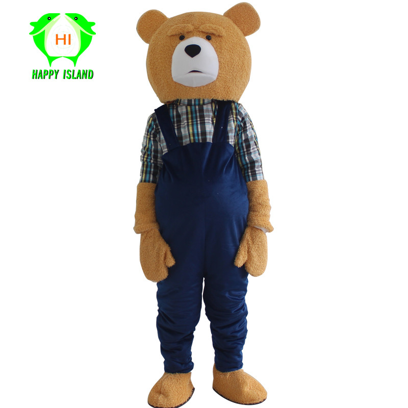 New Adult Teddy Bear Mascot Costumes Adult Halloween Christmas Cosplay Mascot Costume for 1.65m-1.78m Bear Men Women Costume