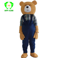New Adult Teddy Bear Mascot Costumes Adult Halloween Christmas Cosplay Mascot Costume for 1.65m 1.78m Bear Men Women Costume