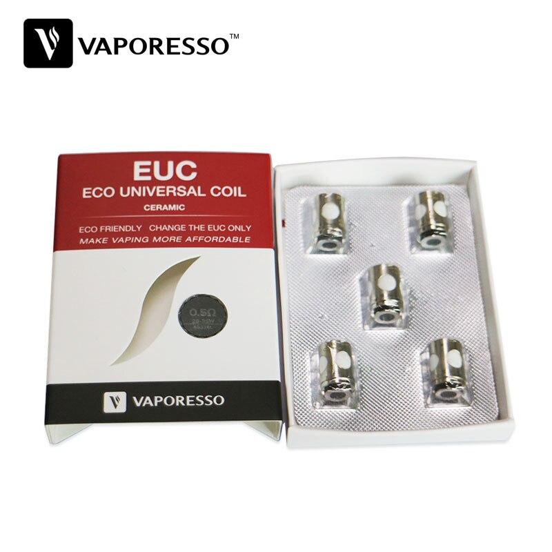 Originale 5 pz Vaporesso Ceramica EUC per Estoc/Target Pro/ORC/Gemini con Manica 0.5ohm SS316L Bobina ceramica EUC E-sigaretta Coil