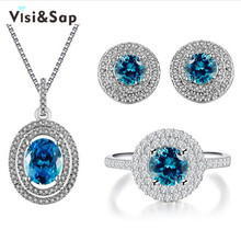 Visisap Ocean Blue stone CZ jewelry sets for women wedding rings necklaces earrings wedding bijoux trendy jeweller gifts VSJ182