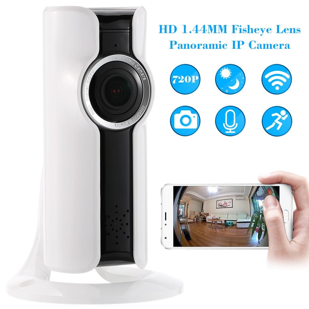 imágenes para Panorámica de 180 Grados Mini WiFi Cámara IP HD 720 P Cámara de ojo de Pez 1.44 MM Red Inalámbrica de Audio de Vigilancia de Visión Nocturna cámara