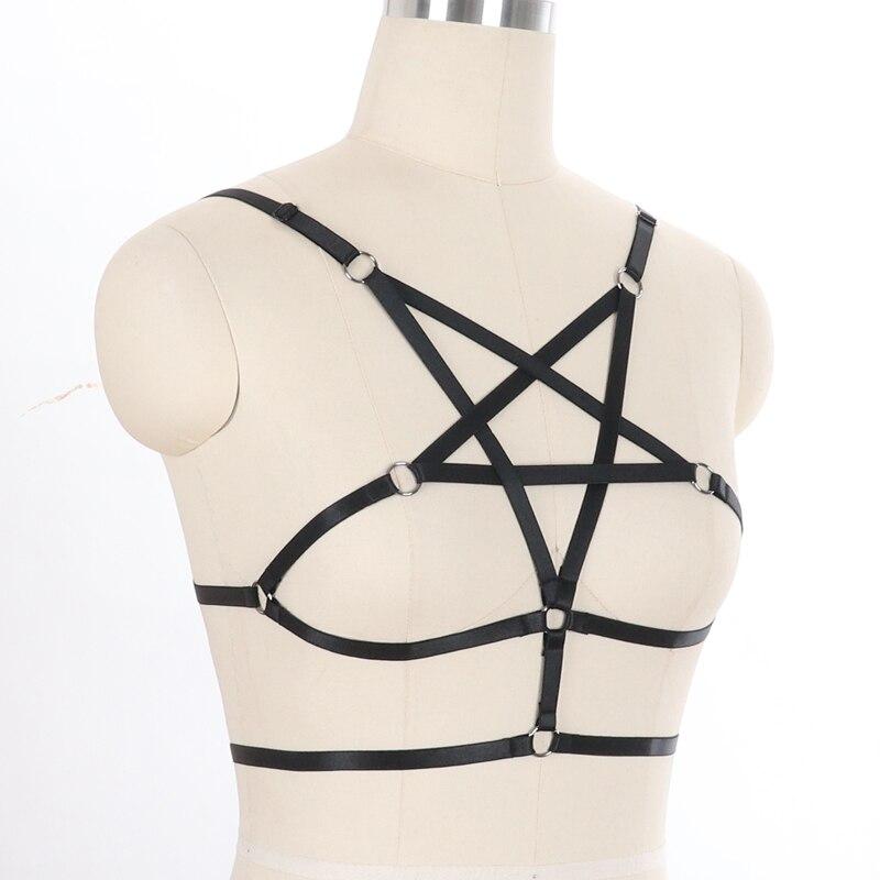 Women Rave Wear Pentagram Bondage Body Lingerie Goth Crop Tops Fetish Cage Bra Lingerie Belt Star Harness in Garters from Underwear Sleepwears