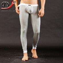 Modal Long Johns 2016 Thermal Pants Fashion WJ Sexy Long John Warm Pants Gay Leggings Penis Pouch Open Mens Long Johns Low Rise