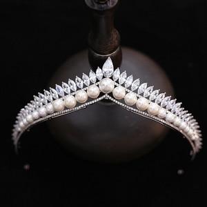 Image 5 - فستان زفاف فاخر ماركة He royal family bride مصنوع يدويًا مرصع بالكامل بالزركونيوم للكبار ذو تاج أبيض للأميرة