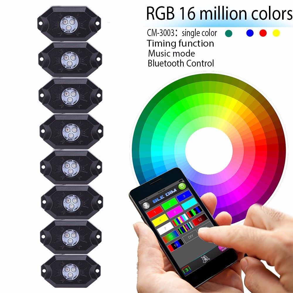 Super Cool RGB LED Rock Lights with Bluetooth Controller, Timing Function, Music Mode - 4 / 8 Pods Multicolor Neon LED Light Kit