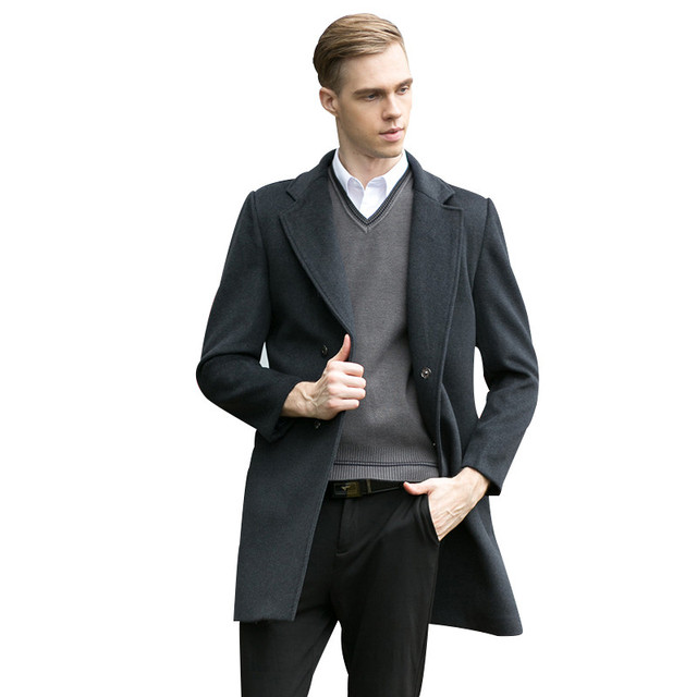 1b2ae110290aea Tailor-made New Fashion Brand Clothing Wool Jacket Men Business Casual Slim  Fit Mens Pea Coat British Style Wool & Blends Winter