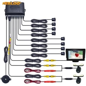 "FEELDO Car 4.3"" LCD Monitor 8-Sensor Parking Sensor 2x Mini CCD Camera Dual Visual Rearview Video Parking Radar System #HQ1631"