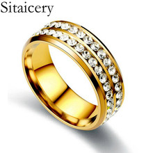 Sitaicery 2 Row Lines Clear Crystal Wedding Rings For Women Fashion Rhinestone Stainless Steel Female Jewelry Engagement Ring double ring crystal rhinestone stainless steel and ceramic ring for women girl fashion jewelry wedding party healthy jewelry