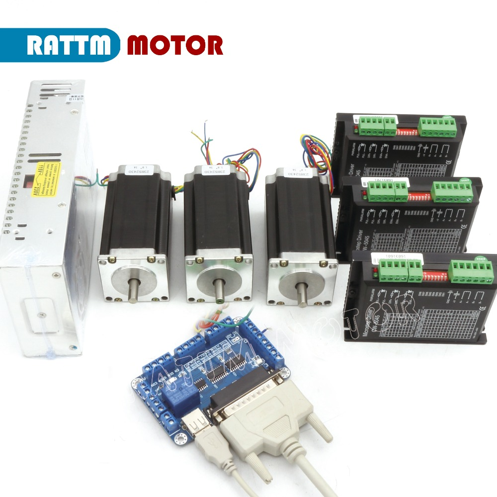2018 Sale Stepper Motor Controller Power Kit 3 Axis Cnc 3pcs Nema23 425 Oz-in Dual Shaft Stepper Motor&256 Microstep 4.5a Driver free ship 3pcs dual shaft nema 23 stepper motor 1 89n m 268oz in 76mm 3a direct selling