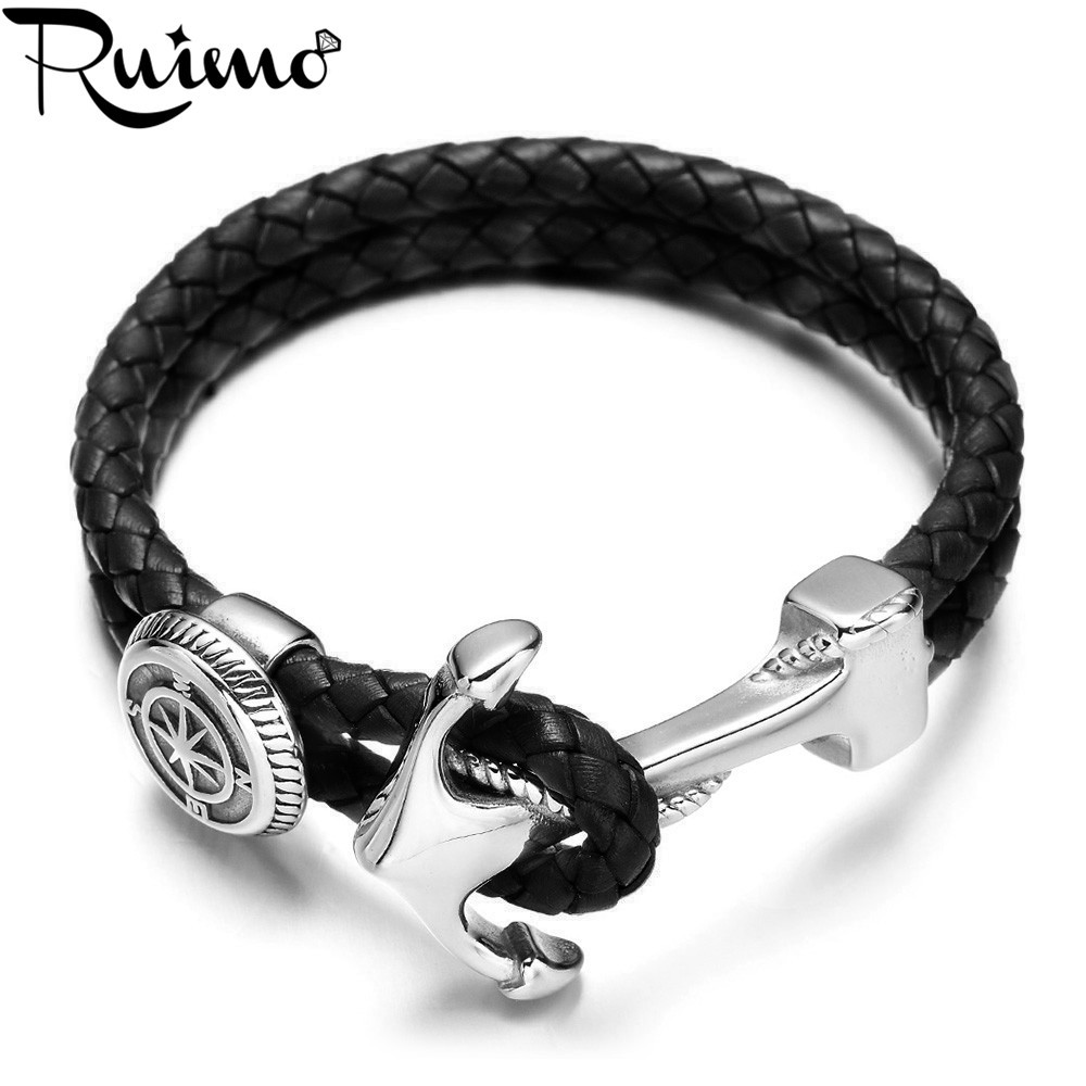 RUIMO Stainless Steel Anchor Connector Charms Men Bracelets Genuine Braided Double Leather Bracelet Wristband Bangle Jewelry